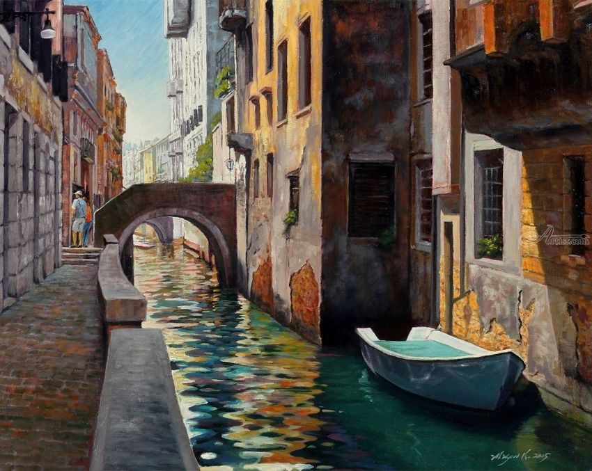 A Pathway in Venice, Paintings, Impressionism, Cityscape, Landscape, Seascape, Canvas, Oil, By Mason Mansung Kang