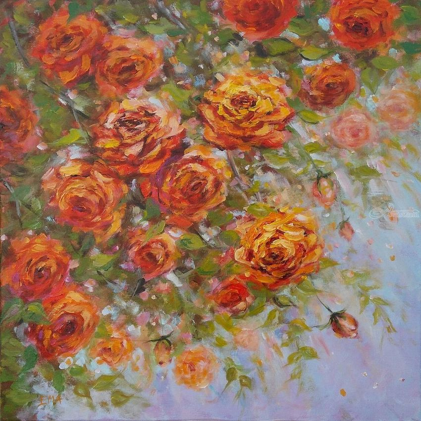 A piece of July, Paintings, Expressionism, Fine Art, Impressionism, Floral, Nature, Acrylic, Canvas, By Emilia Milcheva