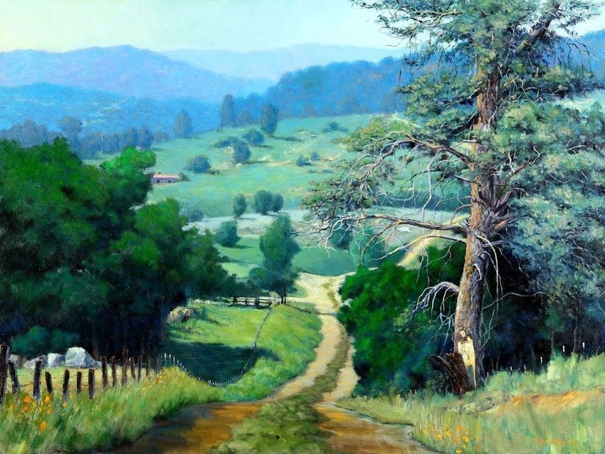 A Pinetree in Paso Robles, Paintings, Impressionism, Landscape, Canvas, Oil, By Mason Mansung Kang