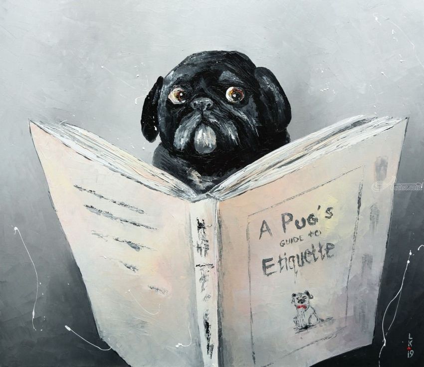 A Pug's guide to Etiquette, Paintings, Impressionism, Animals, Humor, Canvas, Oil, By Liubov Kuptsova