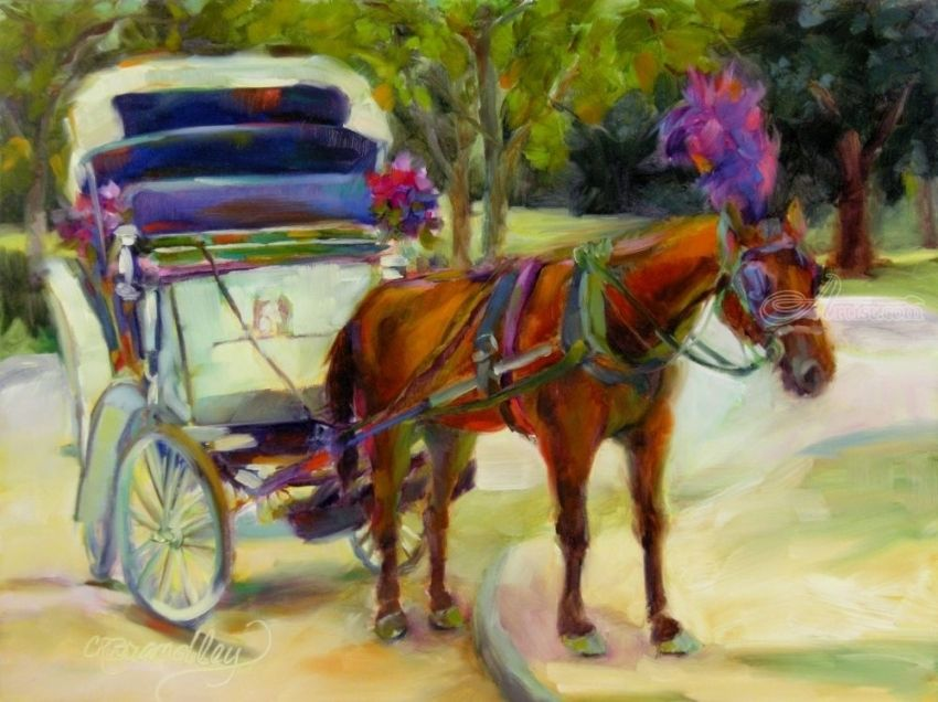 A Ride Through Central Park, Paintings, Fine Art, Impressionism, Animals, Landscape, Nature, Oil, By Chris Brandley