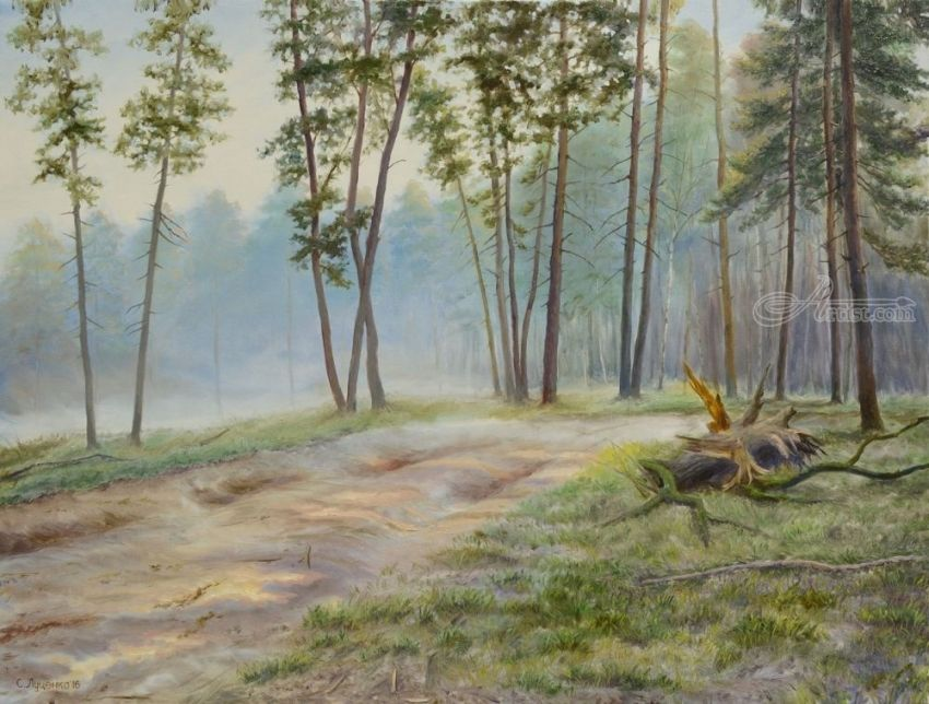 A road in the pine forest, Paintings, Realism, Landscape, Canvas,Oil, By Sergey Sergeevich Lutsenko