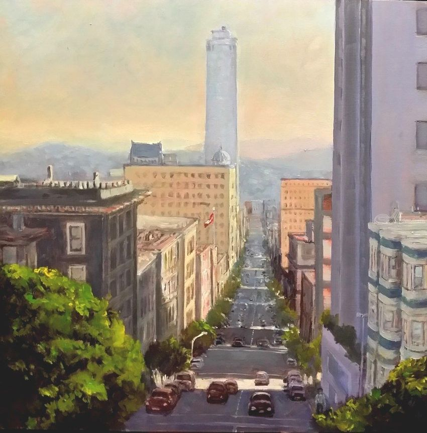 A Street of San Francisco, Paintings, Impressionism, Cityscape, Oil, Wood, By Mason Mansung Kang