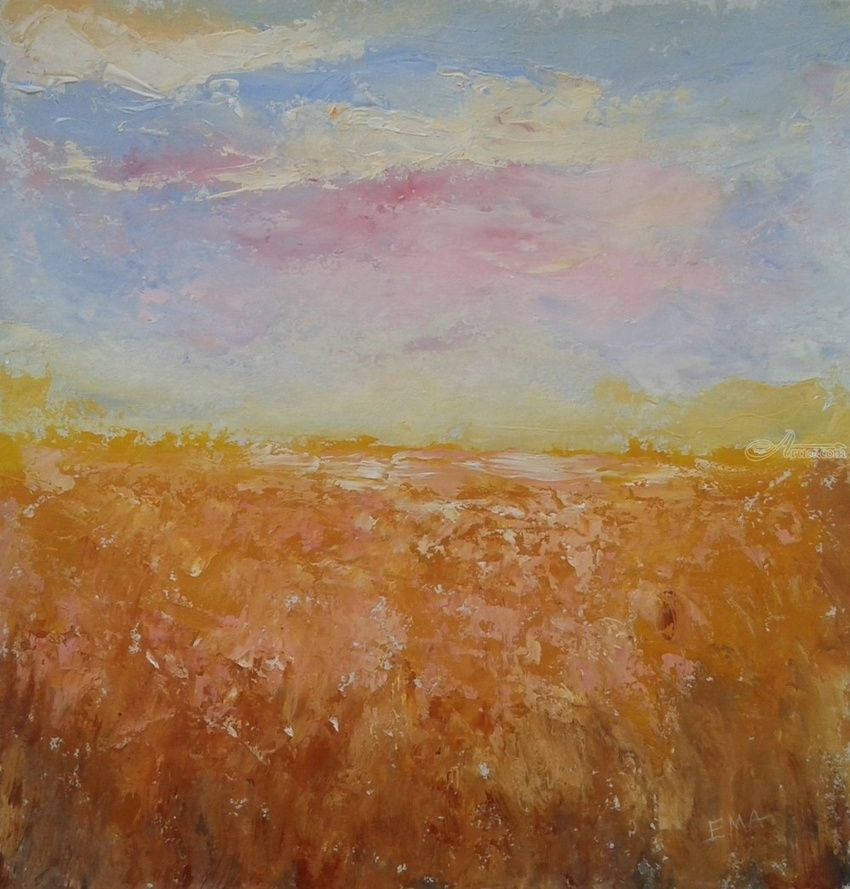 A WHEAT TALE, Paintings, Expressionism, Landscape, Acrylic, By Emilia Milcheva