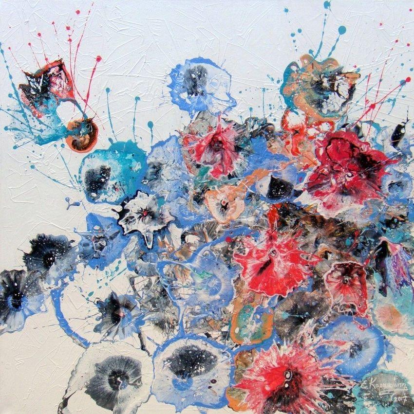 Abstract Flowers Paintings By Irini Karpikioti Artist Com