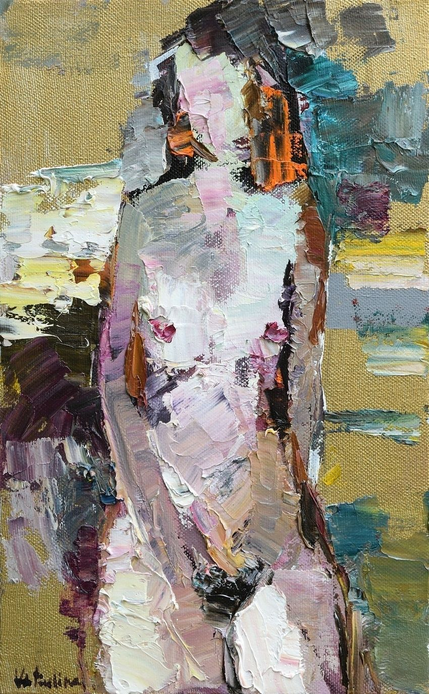 Abstract Nude on Gold - Original oil painting, Paintings, Abstract,Impressionism, Anatomy,Erotic,Figurative,Nudes,People, Oil, By Anastasiya Valiulina