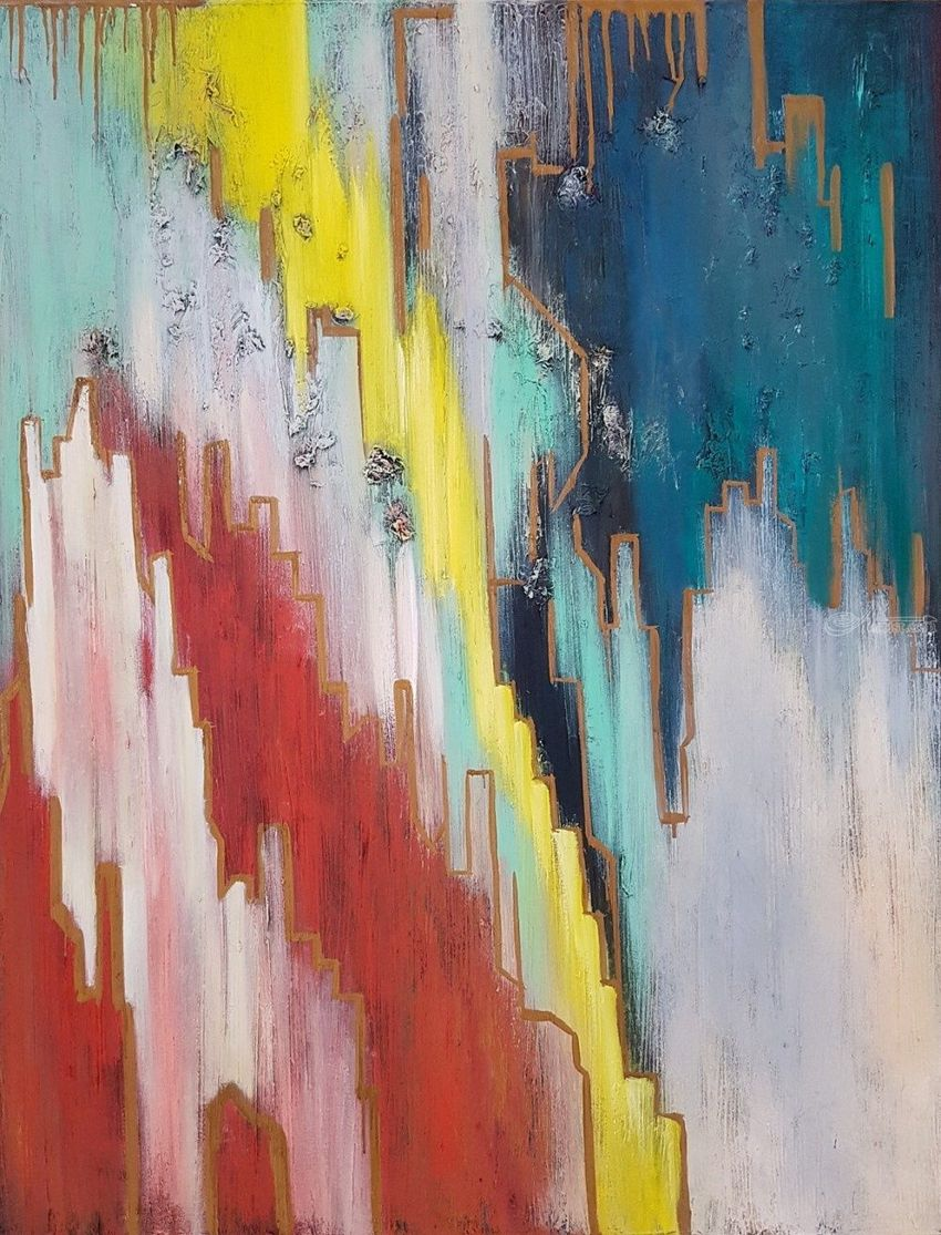 Abstraction painting To share the top with you, Paintings, Abstract, Minimalism, Modernism, Cityscape, Fantasy, Canvas, By Larissa Uvarova
