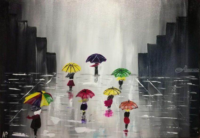 Acrylic painting, Gift idea, Wall Art, original art Rainy Day (2017)