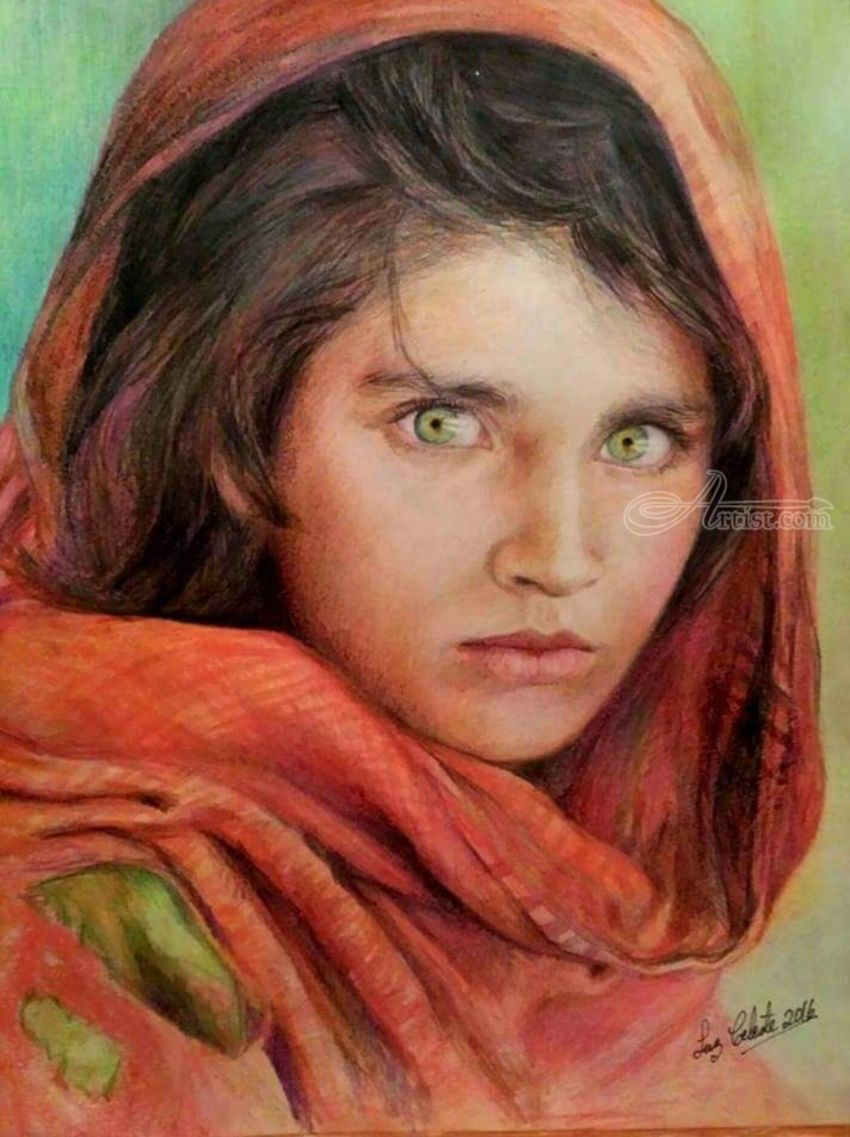 Afghan Girl, Paintings, Fine Art, Realism, Figurative, Portrait, Mixed, By Luz Celeste Figueroa
