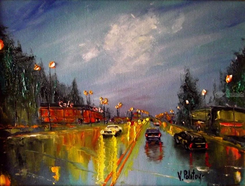 After the rain, Paintings, Impressionism, Cityscape, Canvas,Oil, By Valeriy Politov
