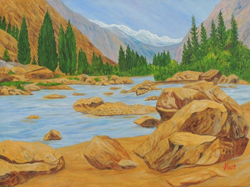 Alaknanda in Majestic Form, Paintings, Expressionism, Realism, Landscape, Canvas, By Ajay Harit