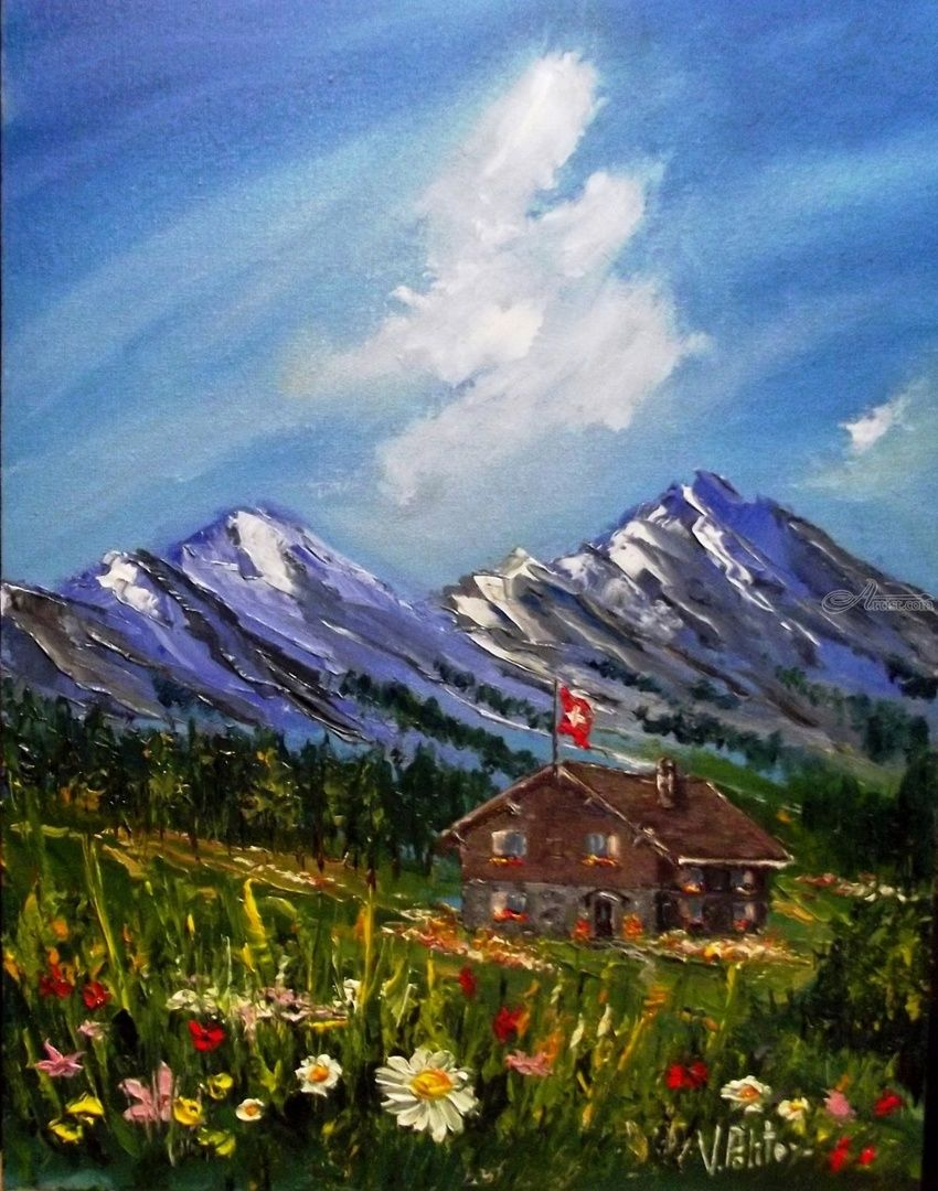 Alpine Tale, Paintings, Impressionism, Landscape, Canvas,Oil, By Valeriy Politov