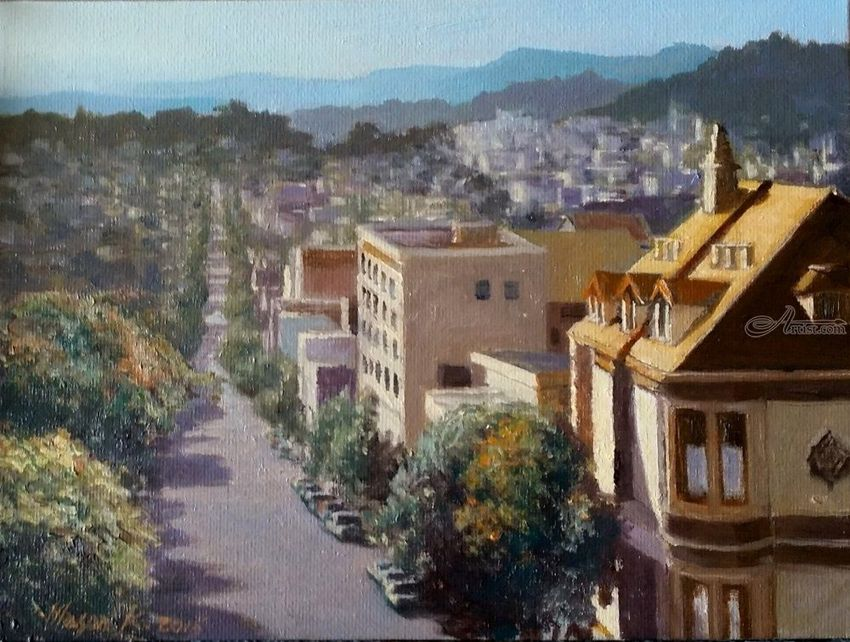 Altavis View, Paintings, Impressionism, Cityscape, Canvas, Oil, By Mason Mansung Kang
