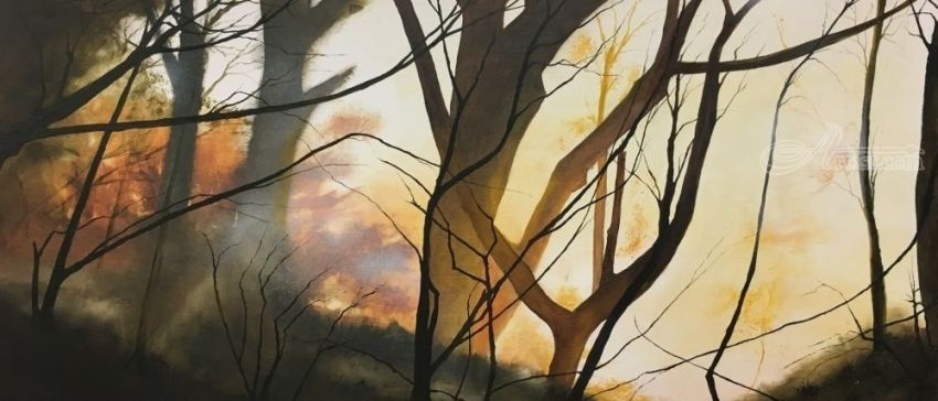 Amber Light, Paintings, Impressionism, Landscape, Oil, By Stephen Keller