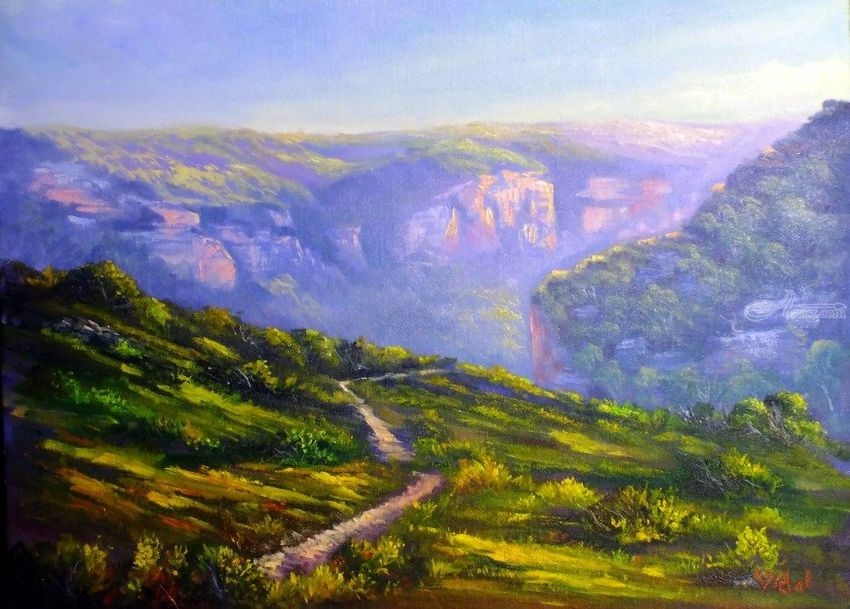 An afternoon at Pierces Pass, Blue mountains, Paintings, Fine Art, Impressionism, Realism, Landscape, Oil, By Christopher Vidal
