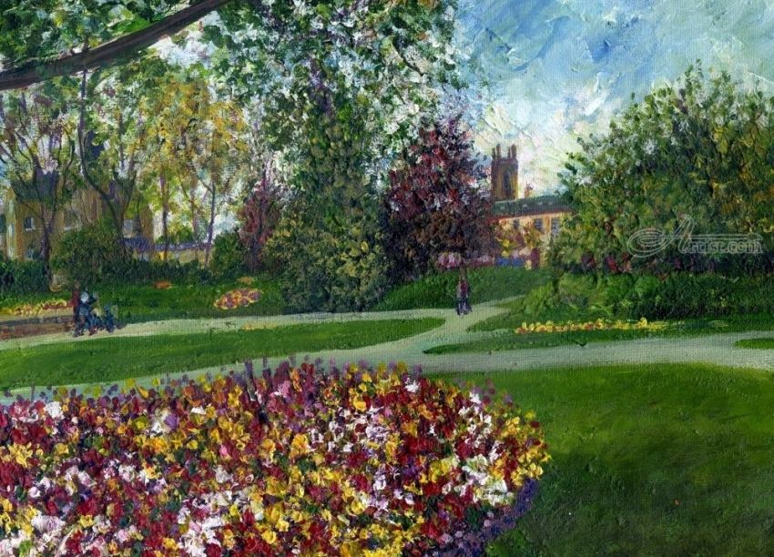 An Afternoon in the Park, Paintings, Impressionism, Realism, Botanical, Floral, Landscape, Canvas, Painting, By Matthew David Evans