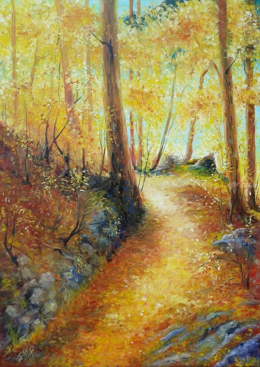 AN AUTUMN DREAM, Paintings, Fine Art,Impressionism,Realism,Romanticism, Land Art,Landscape,Nature, Oil, By Emilia Milcheva