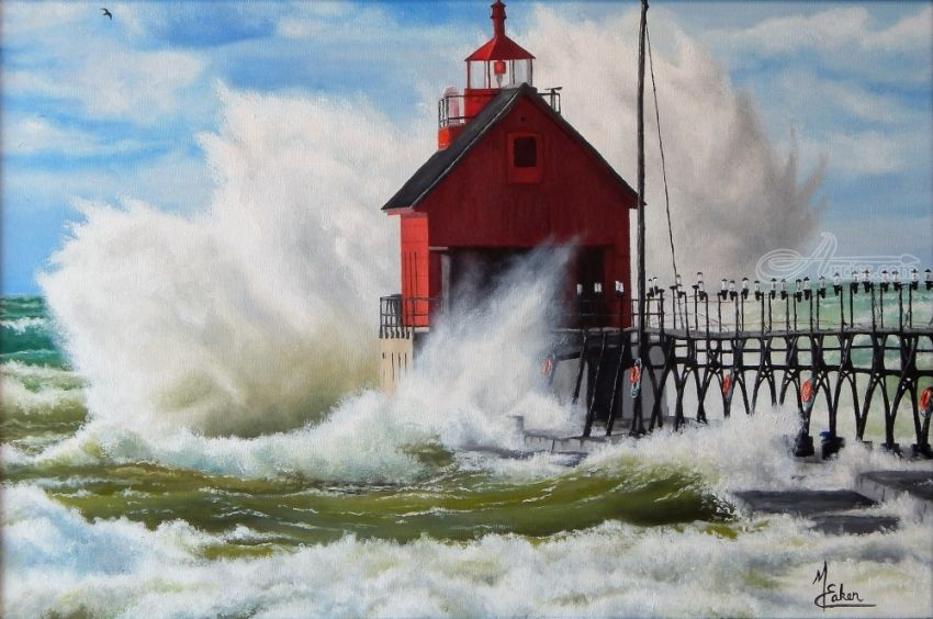 Angry Waves on Lake Michigan, Paintings, Realism, Seascape, Canvas,Oil, By Micheal Lynn Eaken