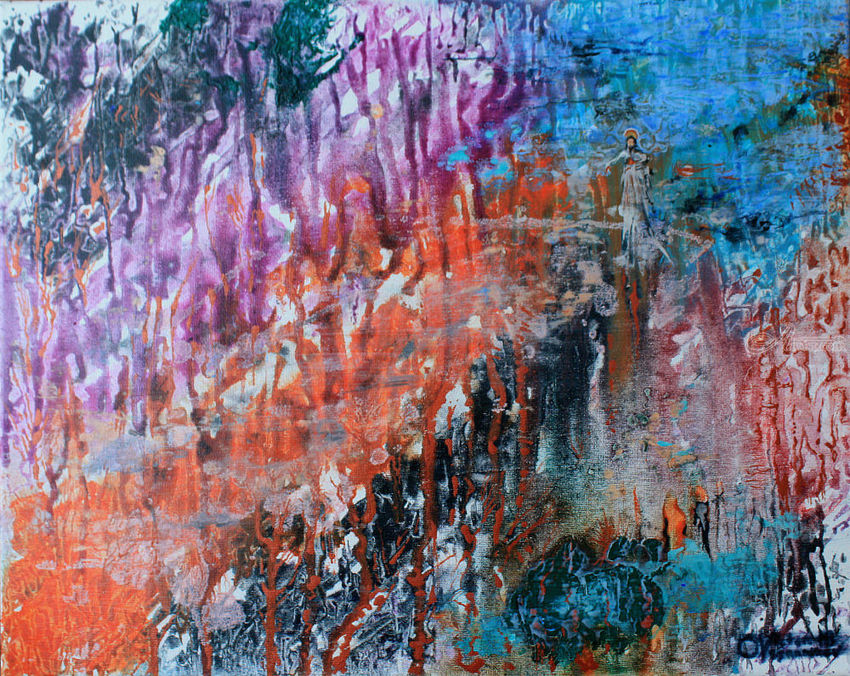 Appearance of Christ in a mountain gorge, Paintings, Expressionism, Landscape, Acrylic, Canvas, By Victor Ovsyannikov