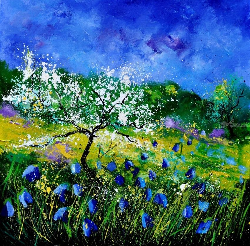 Appletree 7741, Paintings, Impressionism, Landscape, Canvas, By Pol Henry Ledent