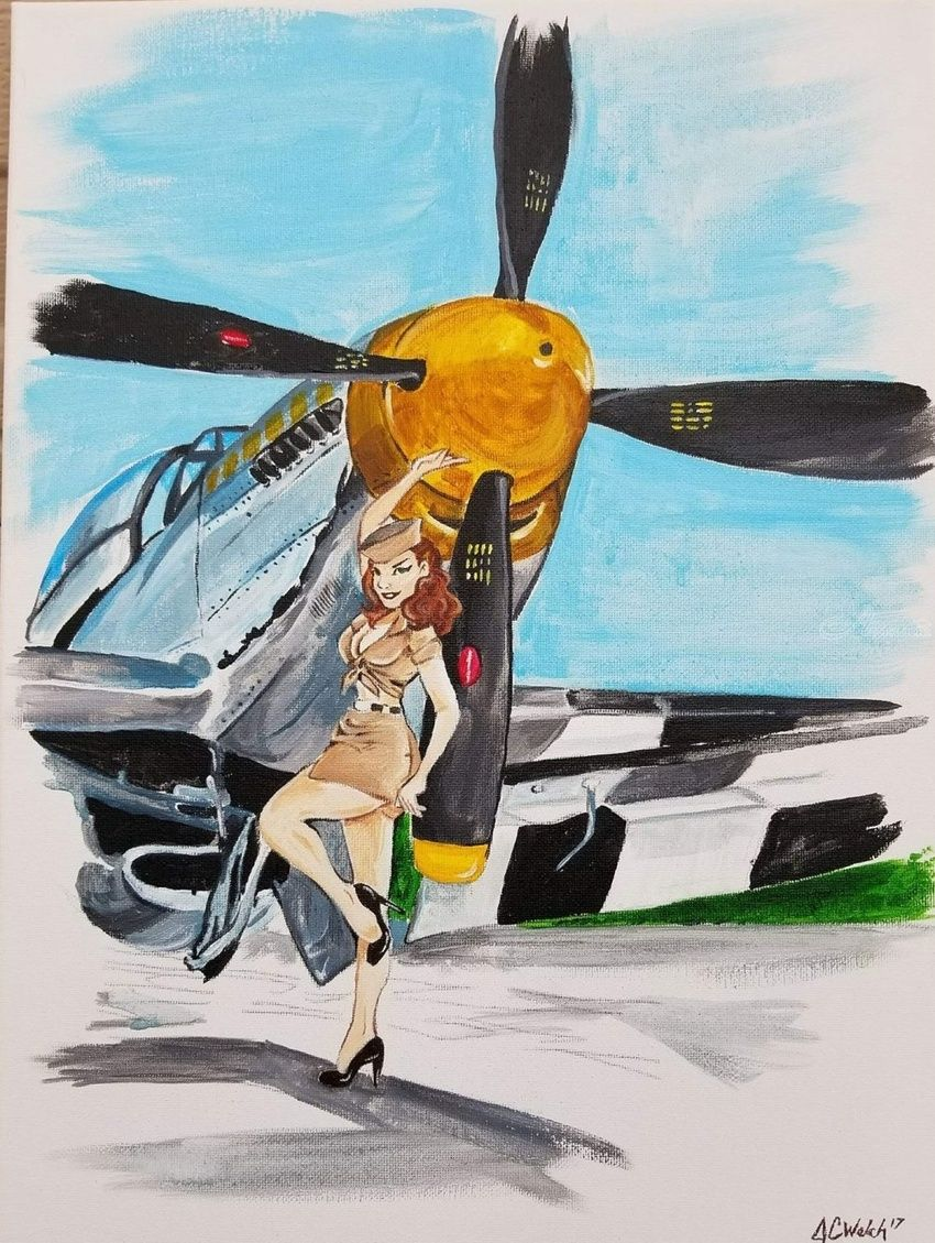 Army Air Corp, Paintings, Pop Art, People, Acrylic, Canvas, Painting, By Jennifer CamposWelch