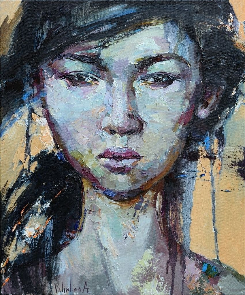 Asian girl portrait painting, Paintings, Impressionism, People,Portrait, Oil, By Anastasiya Valiulina
