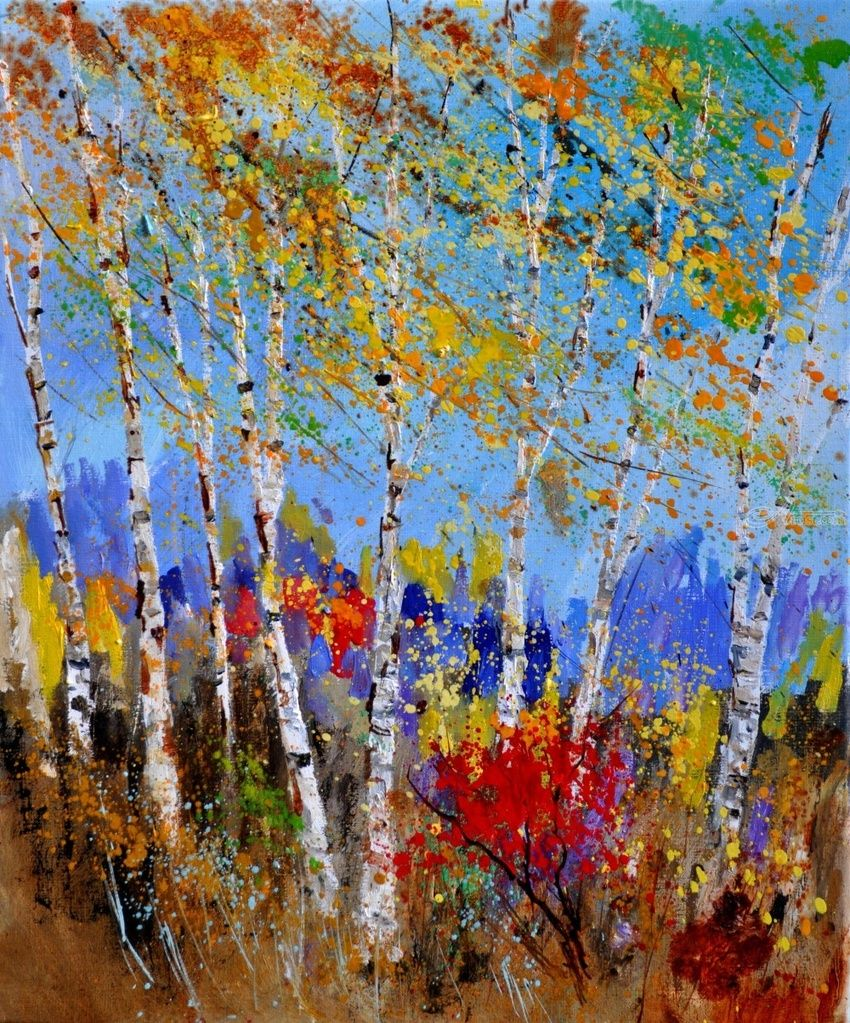 Aspen trees 5641, Paintings, Impressionism, Landscape, Canvas, By Pol Henry Ledent