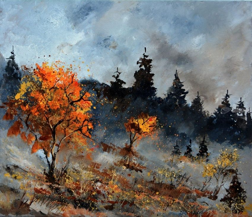 autumn 7651, Paintings, Impressionism, Landscape, Canvas, By Pol Henry Ledent
