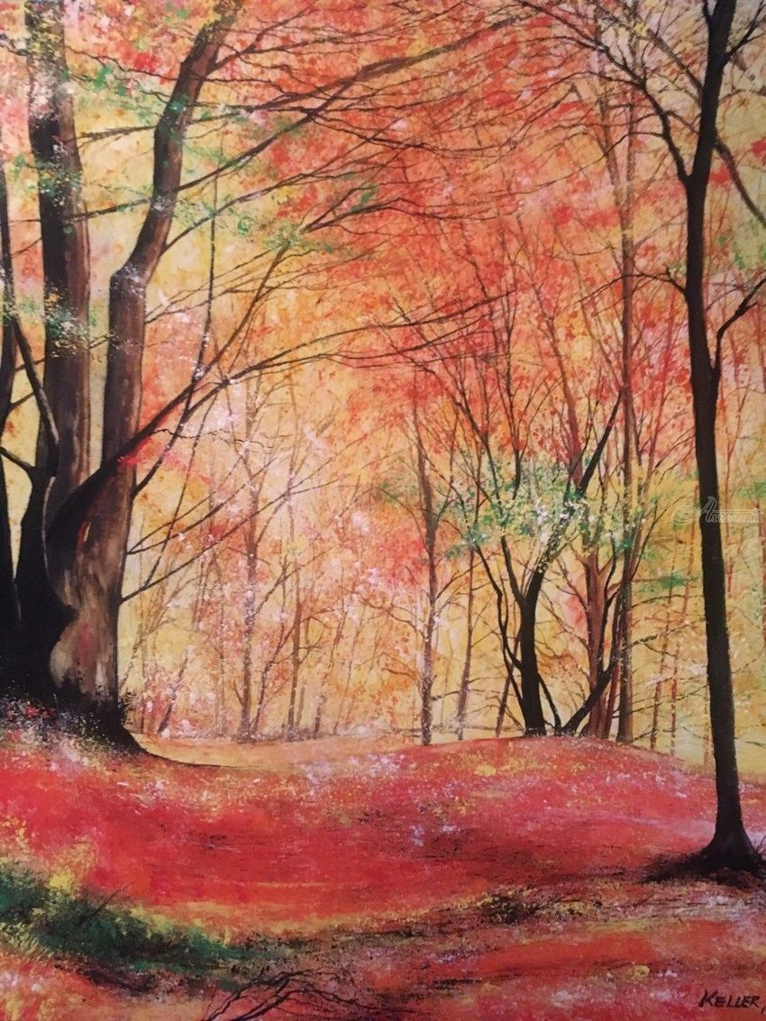 Autumn Glory, Paintings, Impressionism, Landscape, Watercolor, By Stephen Keller