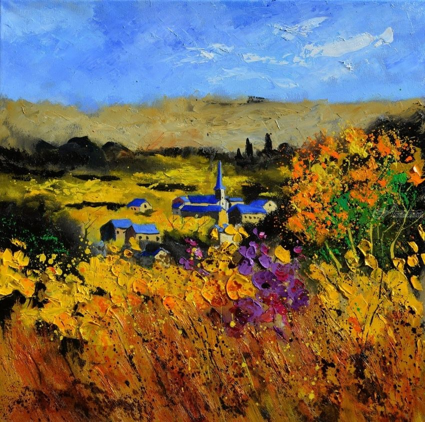 Autumn in Houroy, Paintings, Impressionism, Botanical, Canvas, By Pol Henry Ledent