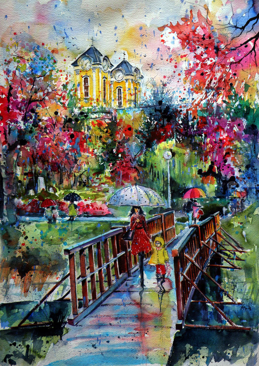 Autumn in my town, Paintings, Impressionism, Landscape, People, Watercolor, By Kovacs Anna Brigitta