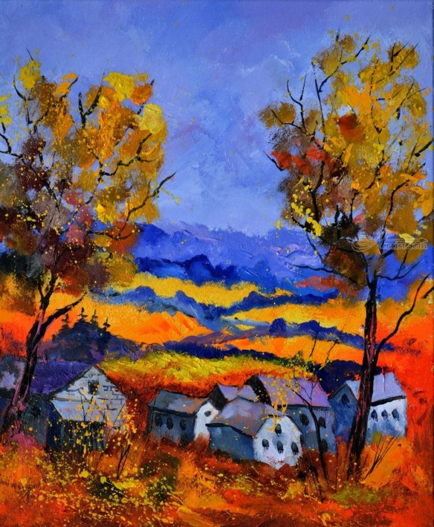 Autumn in Ouroy 6771, Paintings, Expressionism, Landscape, Canvas, By Pol Henry Ledent