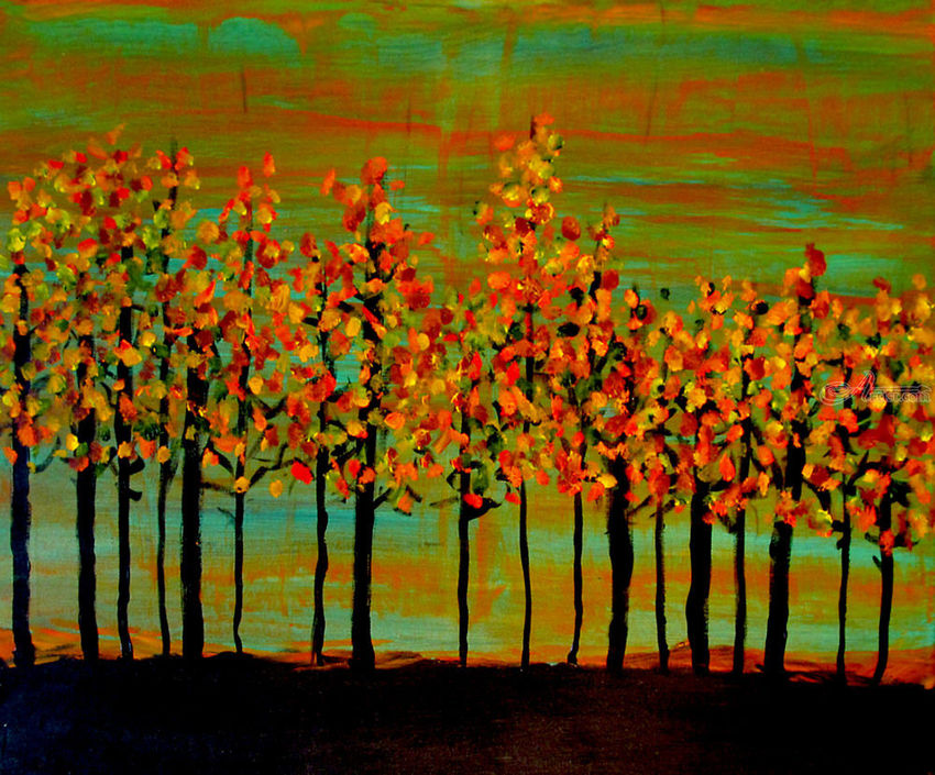 Autumn in the Fall, Paintings, Abstract, Landscape, Acrylic, By Rick Ruark