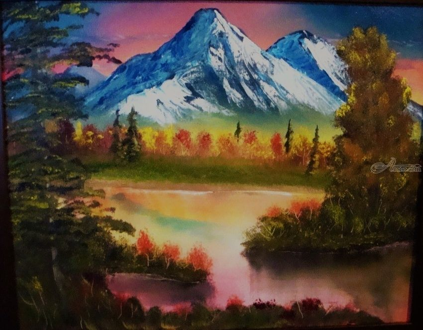 Autumn Mountain, Paintings, Fine Art, Landscape, Canvas, Oil, Painting, By Lana karin Fultz