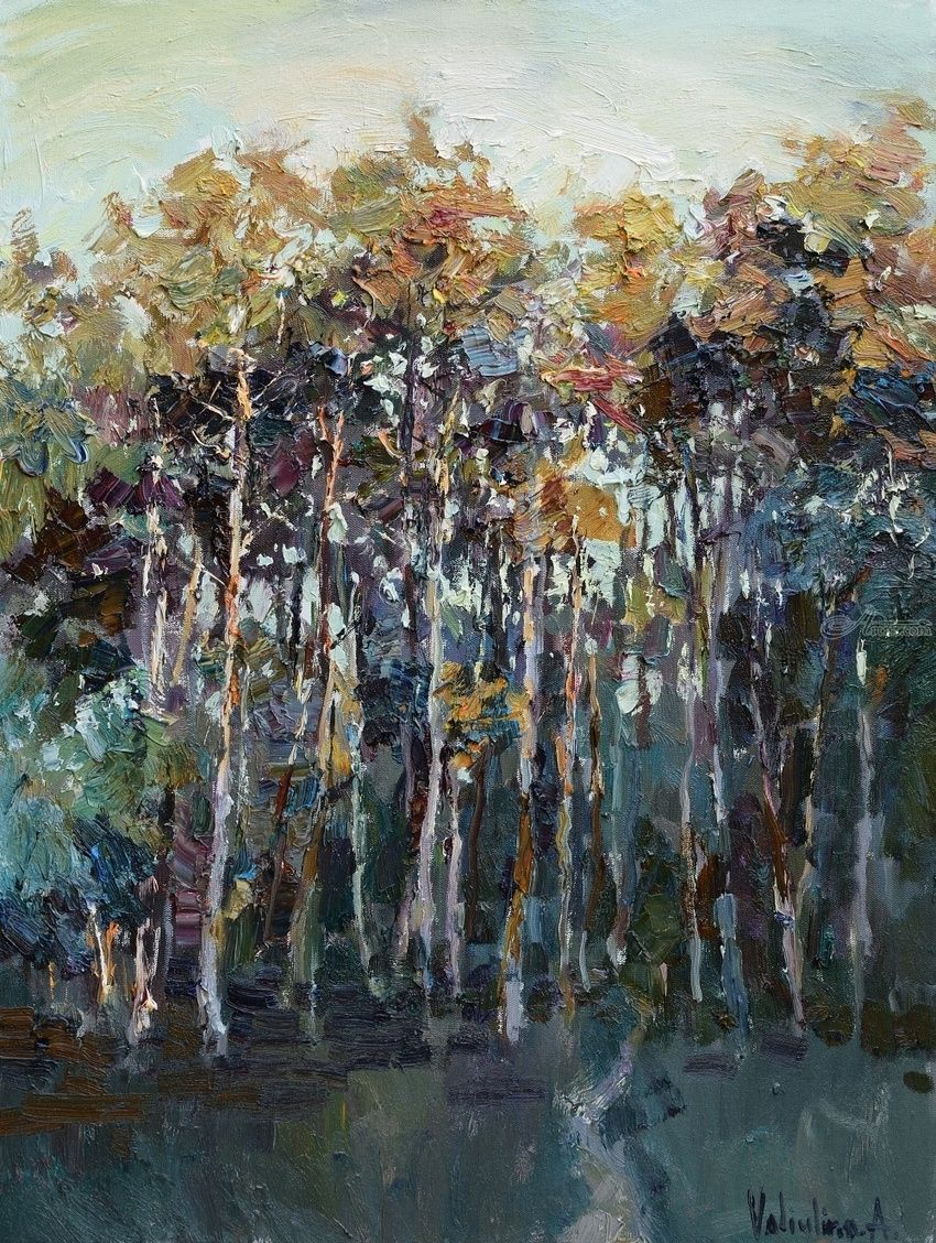 Autumn pine forest - Original Landscape painting, Paintings, Impressionism, Floral,Landscape,Nature, Oil, By Anastasiya Valiulina