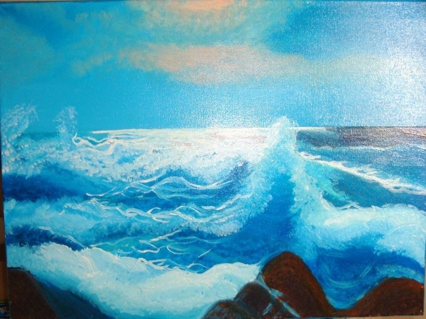 Bay in the Morning, Paintings, Fine Art, Seascape, Canvas,Oil,Painting, By Lana karin Fultz