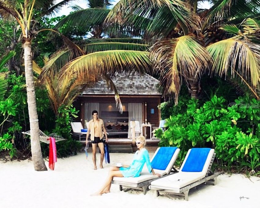 Beach Bungalow#maldives#watercolor, Paintings, Fine Art, Figurative, Watercolor, By Angelo