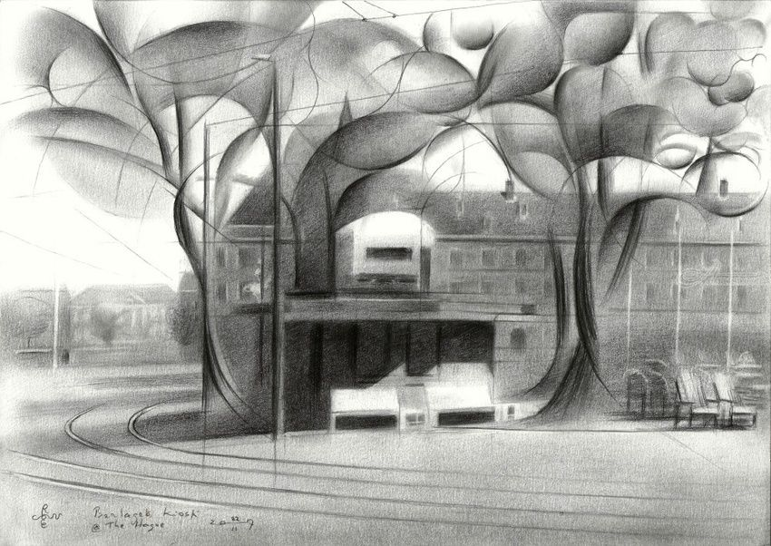 Berlage's kiosk (at The Hague) - 22-06-17 (sold), Drawings / Sketch, Abstract, Cubism, Fine Art, Impressionism, Realism, Surrealism, Architecture, Cityscape, Composition, Figurative, Inspirational, Pencil, By Corne Akkers