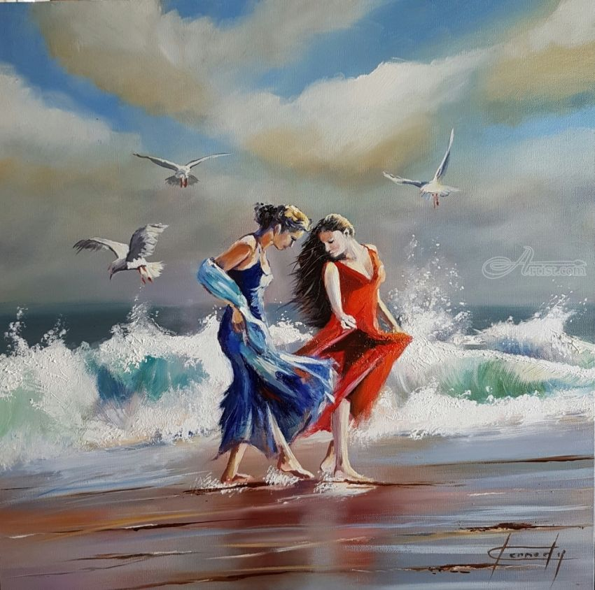 Best friends, Paintings, Impressionism, Figurative,Seascape, Oil, By Keni Kennedy