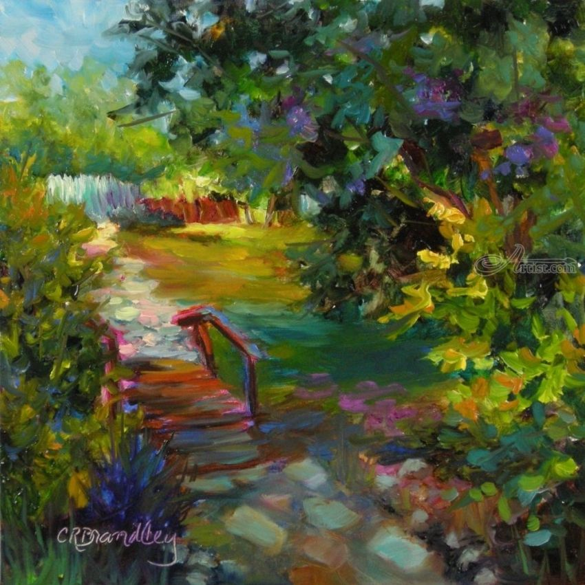 Beyond the Cottage, Paintings, Fine Art, Impressionism, Botanical, Floral, Oil, By Chris Brandley
