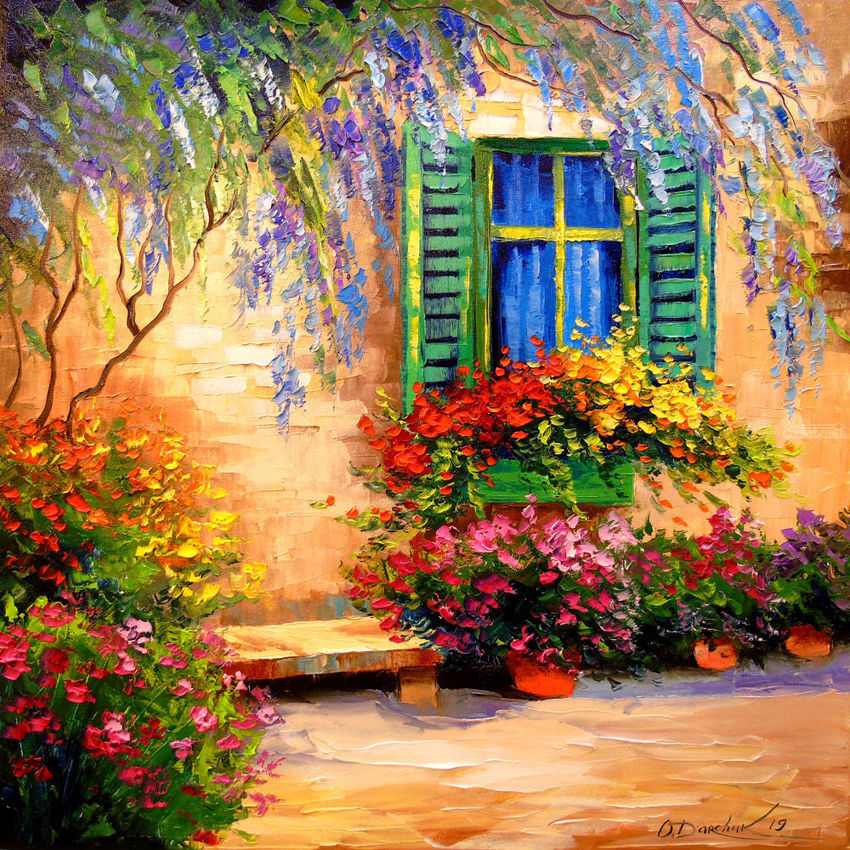 Blooming Summer Patio Paintings By Olha Darchuk Artist Com