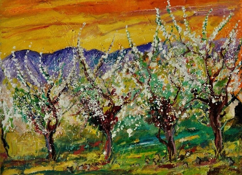 Blossoming cherry trees, Paintings, Expressionism, Landscape, Canvas, By Pol Henry Ledent