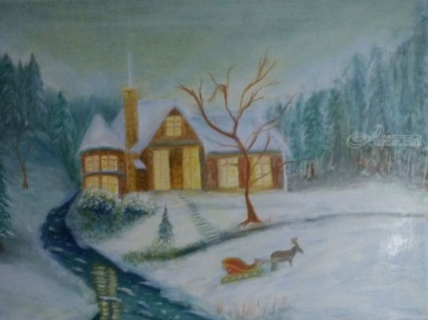 Cabin on Christmas Day, Paintings, Fine Art, Impressionism, Realism, Landscape, Canvas, Oil, By Mike Chaple