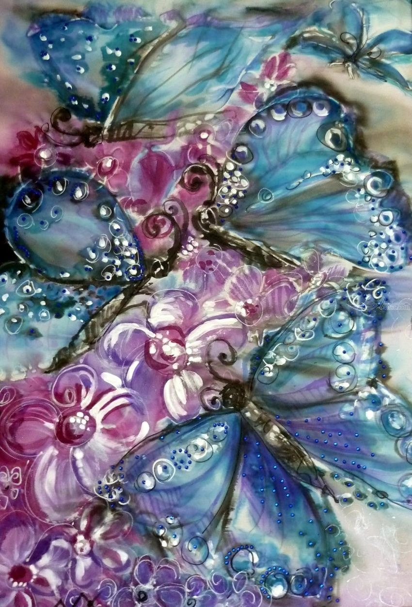 Blue butterflies, Paintings, Realism, Animals, Botanical, Decorative, Fantasy, Floral, Mixed, By Maria Hristova Koleva