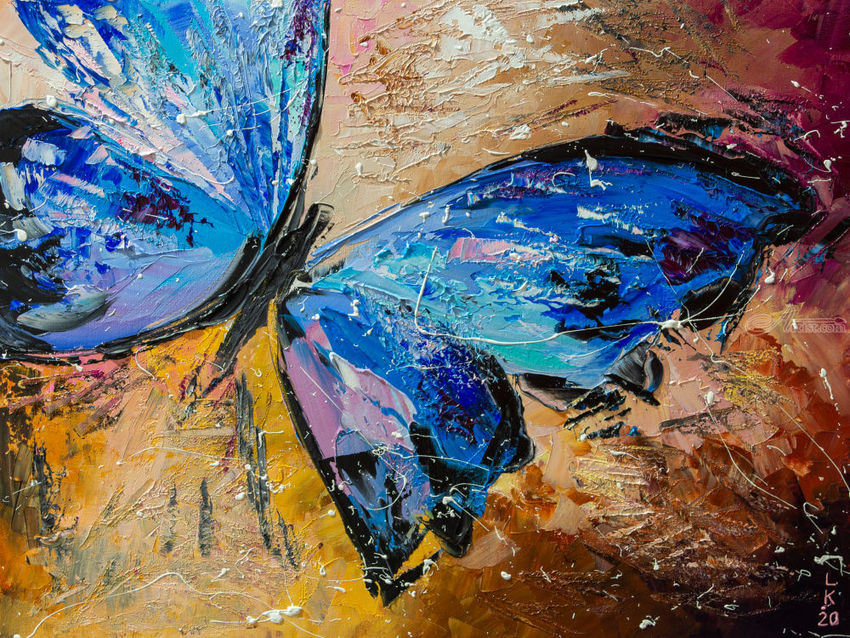 Blue butterfly, Paintings, Impressionism, Animals, Oil, By Liubov Kuptsova