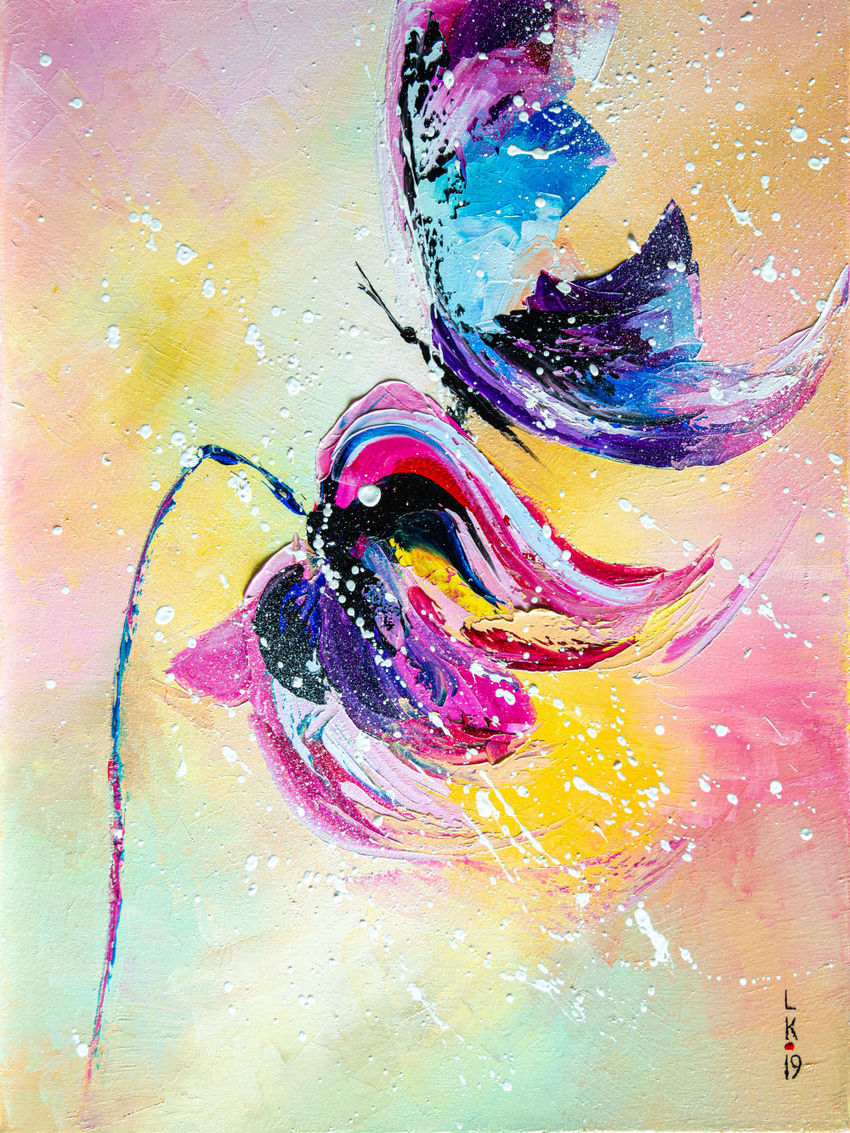 Blue butterfly, Paintings, Abstract, Animals, Botanical, Oil, By Liubov Kuptsova
