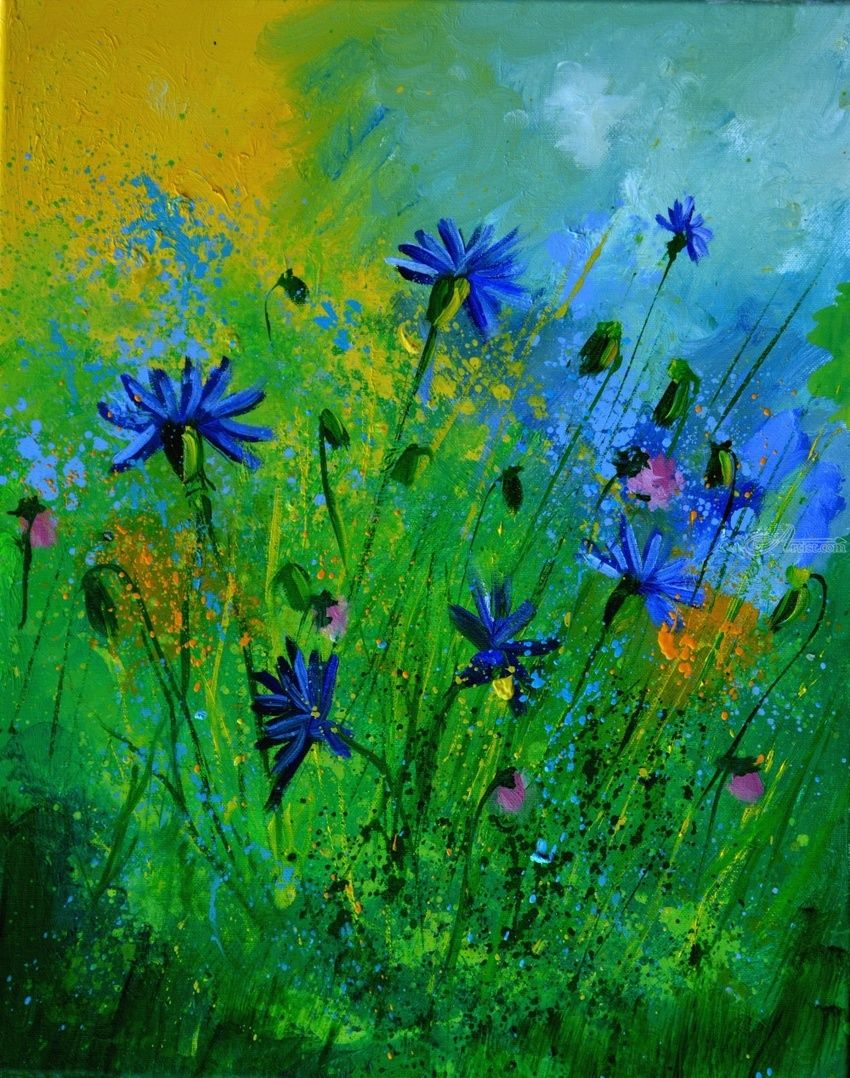 blue cornflowers 4571, Paintings, Impressionism, Botanical,Floral, Canvas, By Pol Henry Ledent