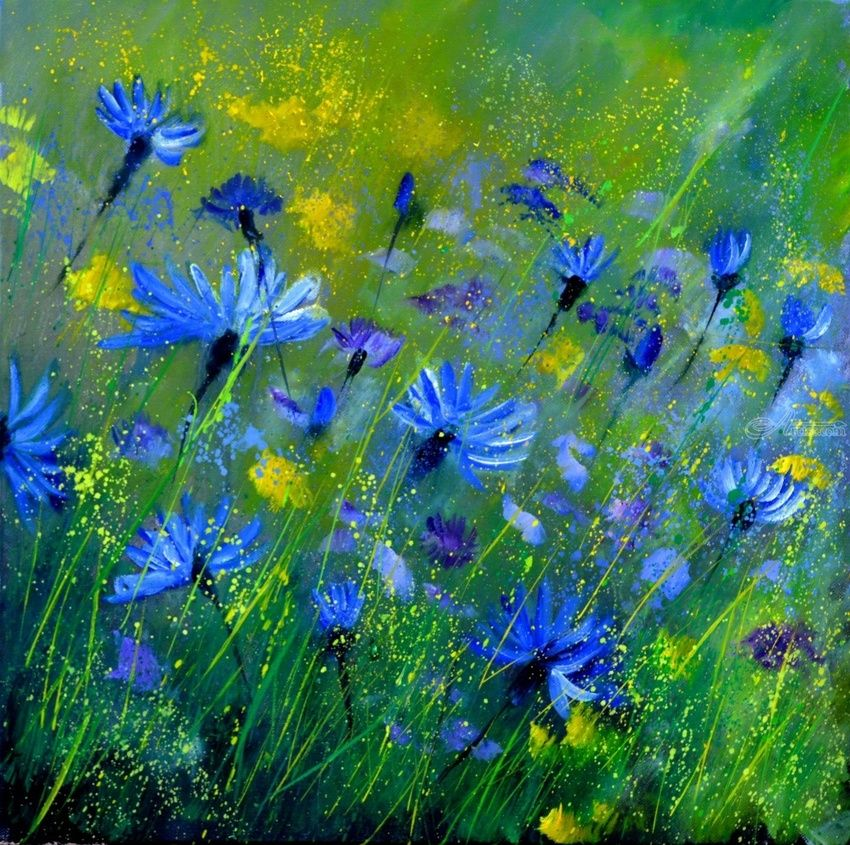 Blue cornflowers 5555, Decorative Arts, Expressionism, Botanical, Canvas, By Pol Henry Ledent