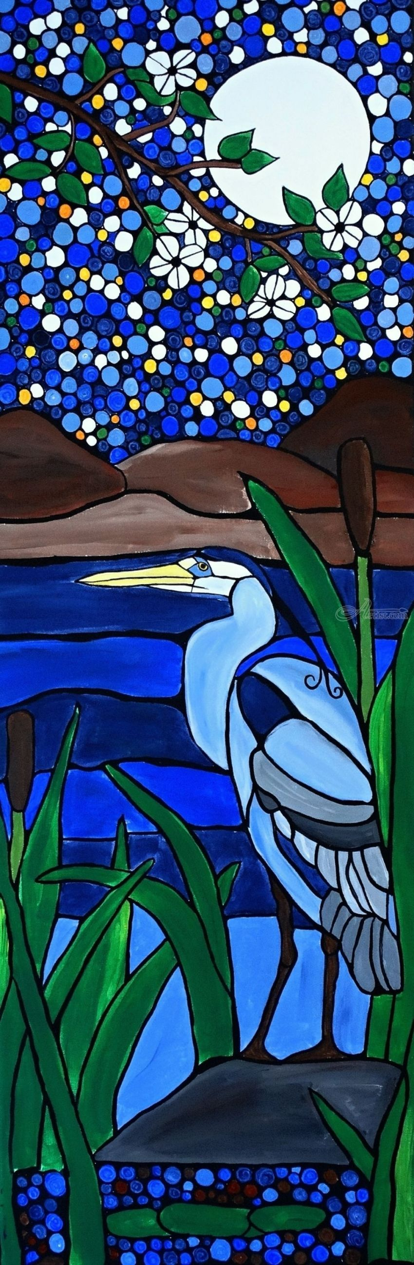 Blue heron, Paintings, Abstract, Expressionism, Fine Art, Animals, Botanical, Acrylic, Canvas, By Rachel Olynuk