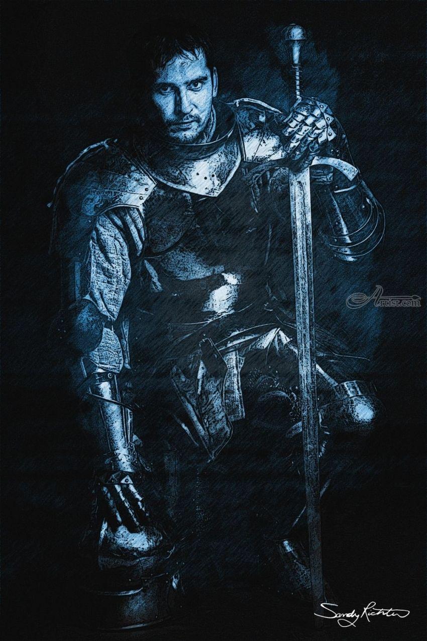 Digital Computer Art : Blue knight digital art computer illustration by